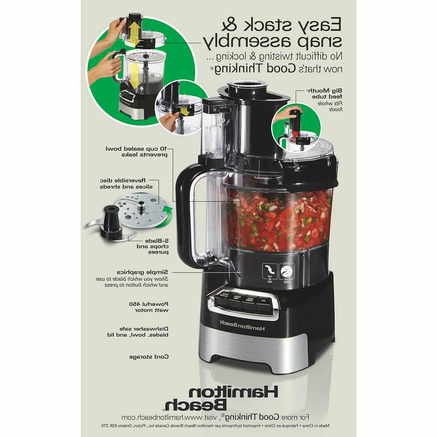 Hamilton Beach,10-Cup Stack Snap Food Processor Big Stainl